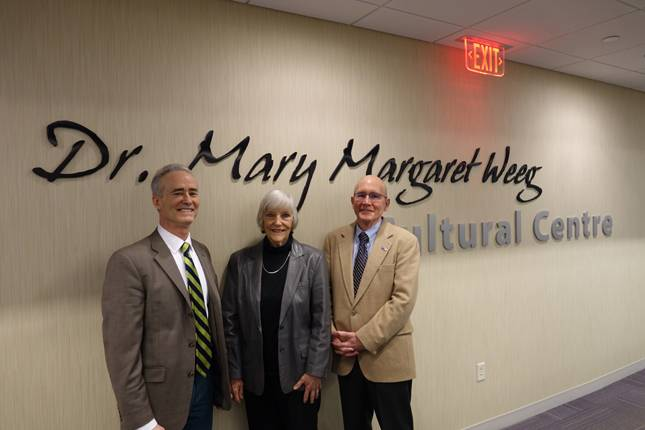 Weeg estate executor Dr. Rose Marie Lynch is flanked by IVCC Director of Community Relations and Development Fran Brolley, left, and IVCC President Jerry Corcoran following the recent gift